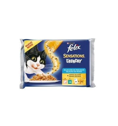 Purina Gatos Húmidos Felix Sensations Crunchy Seleção Peixe 3 x 100gr + 1 x 12gr