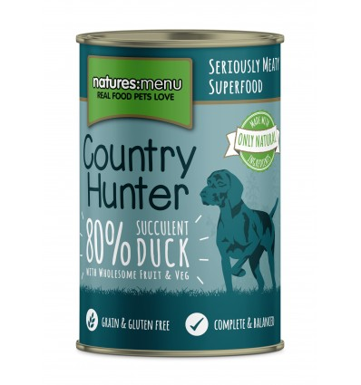 Natures Menu Country Hunter Cão Húmidos c/ Pato e Ameixa Lata 400g