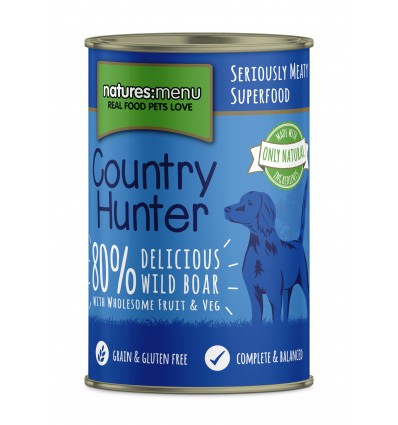 Natures Menu Country Hunter Cão Húmidos c/ Javali Lata 400gr