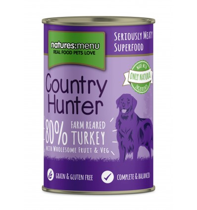 Natures Menu Country Hunter Cão Húmidos c/ Perú Lata 6x 400gr