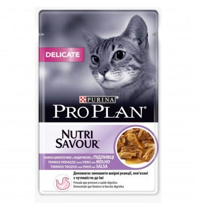 Purina Pro Plan Gatos Húmidos Nutri Savour Delicate Perú Saq. 85gr