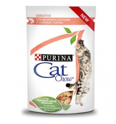Purina Cat Chow Adultos Sensitive Húmidos c/ Salmão e Courgettes 85gr